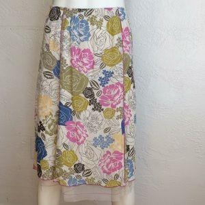 J.Jill floral skirt with net hem